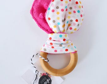 Hot Pink Polkadot Teether // Minky Backed // Wooden Teether // Machine Washable Fabric // Baby Teether Toy // Wooden Toy