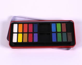 18 Colour Watercolour Tin Bright Colour Watercolour Set