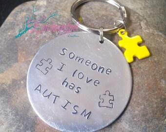 Autism Keychain,  Personalized Keychain, Autism Mom Keychain, Hand Stamped, Jewelry, Custom Gift, Home Stead Gift,