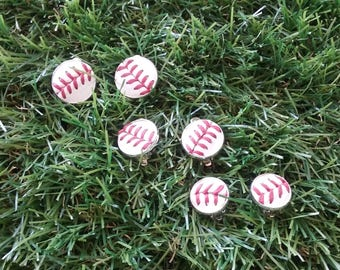 Baseball Clip On Earrings
