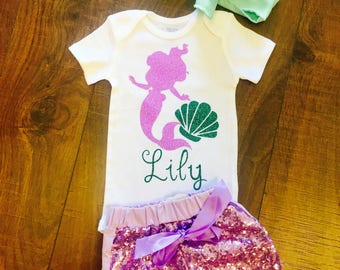 Mermaid Birthday Onesie With custom Name