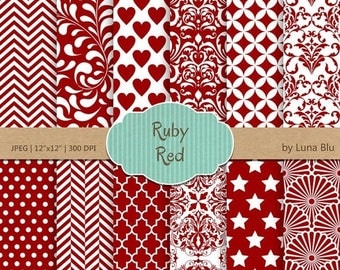 """SALE 50%OFF Ruby Red Digital Paper: """"Ruby Red Patterns"""" red scrapbook paper for invitations, cardmaking, stationary, red backgrounds"""