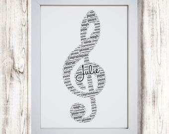 Personalised Treble Clef Music Musical Note Framed Word Art Gift Picture Print Birthday