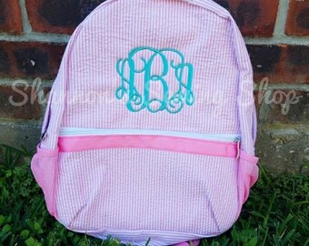 Monogrammed Backpack - Pink Seersucker Backpack - Seersucker Backpack - Monogrammed School Bag