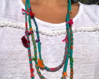 Cord necklace. Lace and tassels necklace. Colorful necklace.