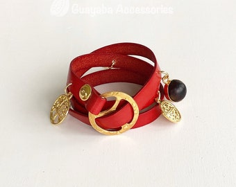 Leather bracelet. Red Bracelet