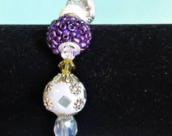 Purple and White Stretch Bracelet