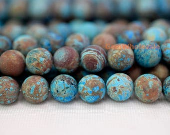 "15.5"" 8mm/10mm/12mm matte Turquoise blue Calsilica jasper round beads,semi precious stone,matte blue brown gemstone beads, frosted beads"