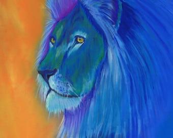 "9x12"" Colorful Original Lion Pastel Drawing"