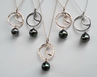 Tahitian pearl wave necklace