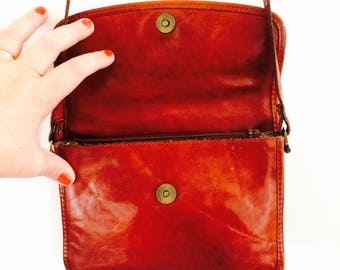 Vintage leather bag| vintage leather Burkely bag| cognac leather bag | vintage leather shoulderbag| leather messengerbag