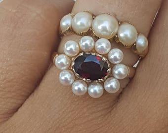 Garnet and pearl ring 14k