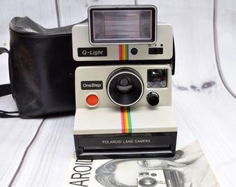 Vintage Polaroid One Step Land Camera White Rainbow SX-70 Instant Film Camera with Q-Light Flash