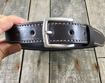 Mens Leather Belt, Made from Full Grain Leather, Rugged and Rustic, Hand Made Leather Belt, Stitched Leather Belt
