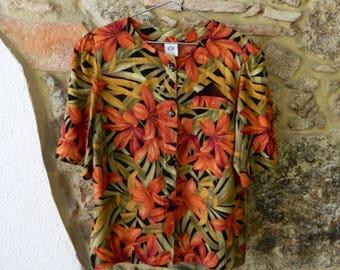 SALE! vintage flowers shirt, tropical print, floral print, hawaiian shirt, camisa hawaiana, ropa vintage, flowers, leafs, terracotta