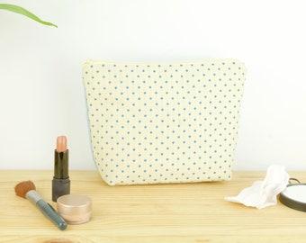 Best makeup pouch, light blue cream fabric pouch, beauty case, zero waste, large pouch, toiletries bag, geometrical pouch, diamonds