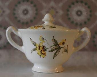 Paden City Sugar Bowl, Vintage Ceramic Sugar Bowl with Yellow Flowers, White and Yellow Sugar Bowl with Lid, White China Sugar Bowl