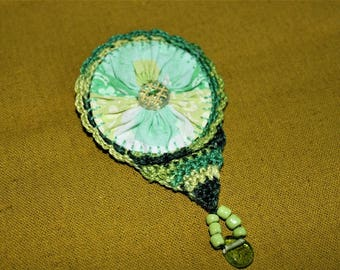 Lovely fresh mint green and variegated green perle 8 crocheted Vintage Suffolk Puff brooch