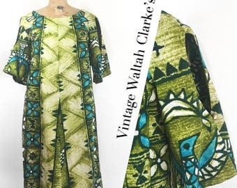 Vintage Hawaiian Tiki Dress by Waltah Clarke's Hawaiian Shop, palm green barkcloth