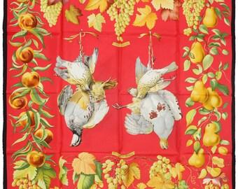 """RARE HERMES Scarf Silk """"Fructidor"""" by Henri de Lenares 90cm Carre 100% Auth"""