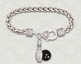Bowling Theme Rhinestone Charm Bracelet