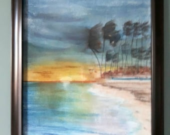 Framed artwork, Sunset art, Wall art, Landscape Painting