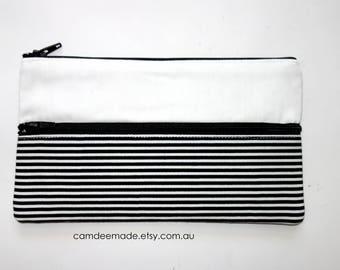 Cute Striped Pencil Case/ Makeup Bag 19cm x 11cm With Two Pockets