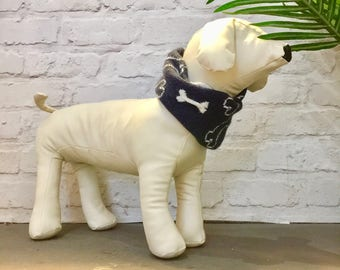 Dog Snood, Navy Bone Design, Cotton/lambswool knitted dog scarf