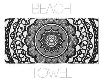 Black And White Mandala Towels, Geometric Print, Bath Linens, Beach Towels, Mandala Beach Towel