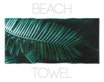 Green Beach Towel, Leaf Art, Tropical Towel, Nature Photography, Leaf Beach Towel, Bath Decor, Home Decoration, Printed Towels