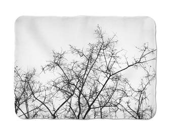 Tree Branch Blanket, Cosy Blanket, Sherpa Blanket, Throw Blanket, Black And White, Nature Decoration, Housewarming Gift, Christmas Gift