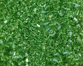 Swarovski 4mm Bicone Faceted Crystal Beads - PERIDOT - Select 10, 20, 50 or 100