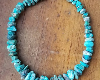 Natural Southwest Turquoise Nugget Graduated Necklace, Native American Vintage Style, Hill Tribe Silver, Rough Chunky Turquoise Necklace