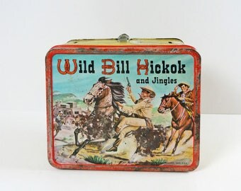 Vintage 1955 Aladdin Wild Bill Hickok and Jingles Old Metal Lunch Box Lunchbox
