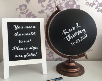 Chalk board globe wedding guestbook, alternative guestbook, world guestbook, unique guestbook