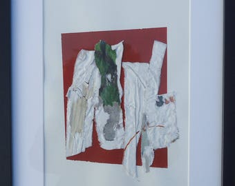 """Painting - Collage 3 mixedmedia-material-abstract-informal.Size 11,8""""x15,7"""""""