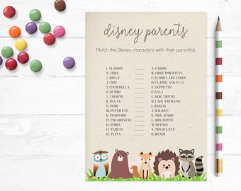 Printable Woodland Baby Shower Game, Disney Parents Game, Disney Babies, Match the Character, Quiz, Spring, Woodland, MB200