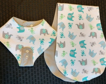 Teether-Holding Baby Bib/Burp Cloth Set - Elephants and Monkeys! - Super soft flannel. Reversible! A great shower gift!