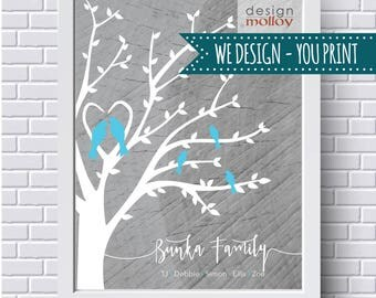 Family Tree for Mom - Family Tree Printable, Personalized Family Tree, Gift for Mom, Family Tree with Birds, Anniversary Gift, Mother's Day