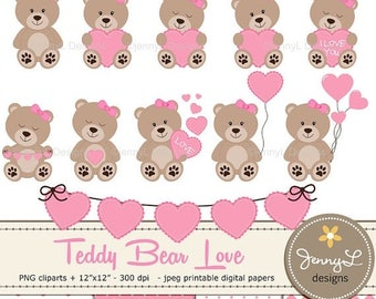 50% OFF Teddy Bear Clipart, Baby Shower Teddy Papers, Baptism bear, Valentine Teddy Bear, Heart Balloon, Girl Teddy Bear paper, Bunting Hear