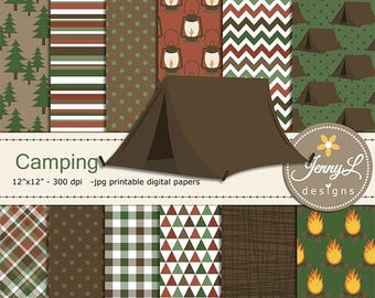 50% OFF Camping Digital Papers & clipart SET, Tent, Bonfire, Stars wild, smores, tree for Digital Scrapbooking,  invitations, Planner