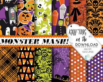 halloween paper pack halloween digital paper monster paper pack halloween scrapbooking papers halloween party papers halloween background