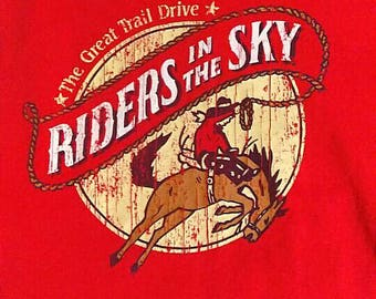 Vintage 80s Riders in the Sky Horse Red Shirt Large