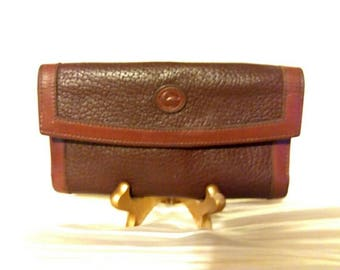 Vintage Dooney and Bourke Brown Leather Long Checkbook Kisslock Wallet