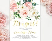 "Baby Shower Invitation Girl, ""It's a Girl"" baby shower invite, Floral Garden Baby Shower Invite, Blush Pink White Roses, Gold - Charlotte"