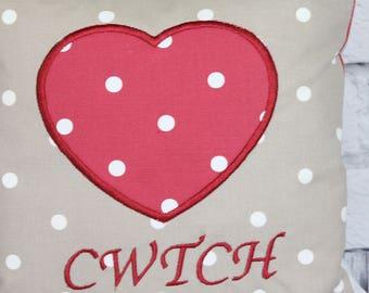 Cwtch Heart Cushion-Handmade Pillow cover-Cushion cover-Red and Taupe Dotty Heart Cushion with feather pad