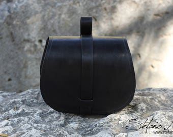 Black leather pouch - LARP and Cosplay