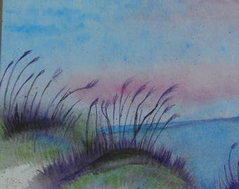 Watercolor Painting, Original Watercolor, Beach Painting, Beach Watercolor, Beach Watercolor Painting, Sand Dune Painting