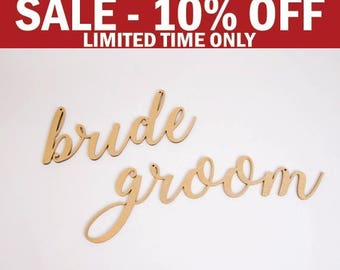Bride & Groom Chair Signs, Wedding Chair Decoration Sign, Chairback Sign, Wood Rustic Decor, Gold Chair Sign, Silver