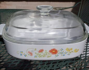 Corning Ware Wildflower Casserole A-2-B and A-10-B with Lid